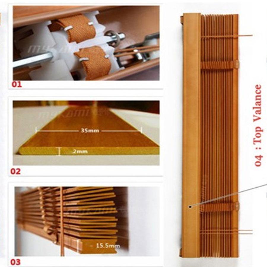 Màn sáo gỗ bản 35mm Màu Nâu Đỏ Nhạt Rèm Gỗ Cao Cấp Màn Cửa Sổ SG36