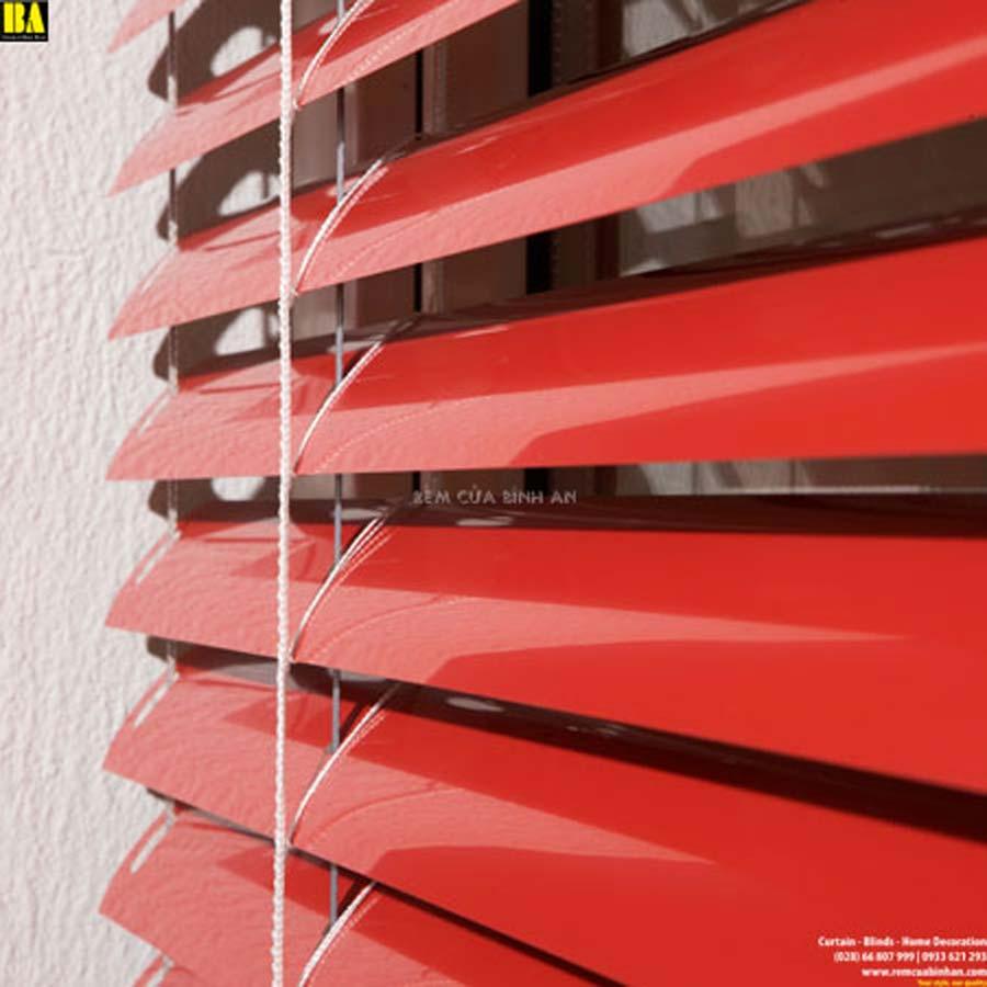Rèm Sáo Lá Nhôm Màn Cửa Sổ Văn Phòng Màn Sáo Ngang Màu Đỏ ST15