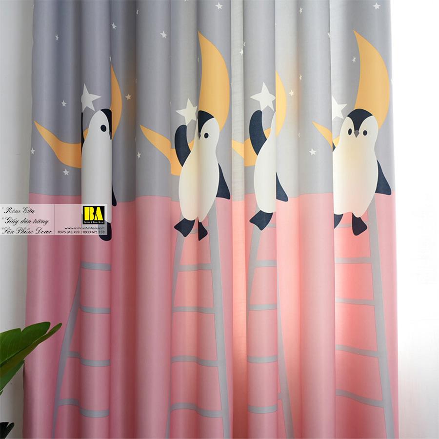 Rèm cửa cho bé họa tiết Chim cánh cụt | Rèm cửa trẻ em cao cấp
