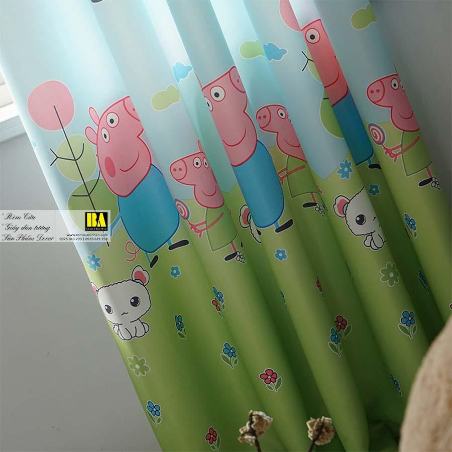 Rèm cửa cho bé họa tiết Peppa Pig | Rèm cửa trẻ em cao cấp