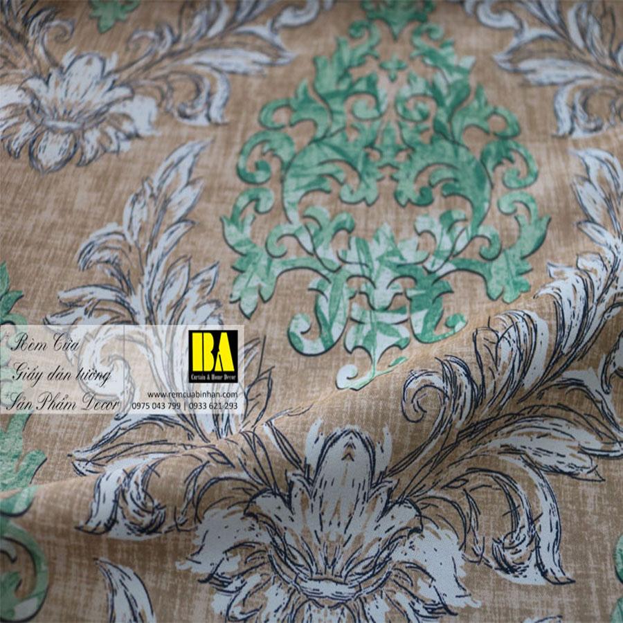 Rèm cửa hoa văn phong cách Hàn Quốc Màn cửa họa tiết FLHQ06