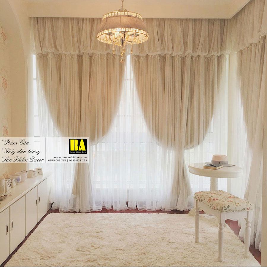 Rèm Cửa Phòng Ngủ Màn Công Chúa Rèm Vải Phối Voan KSM