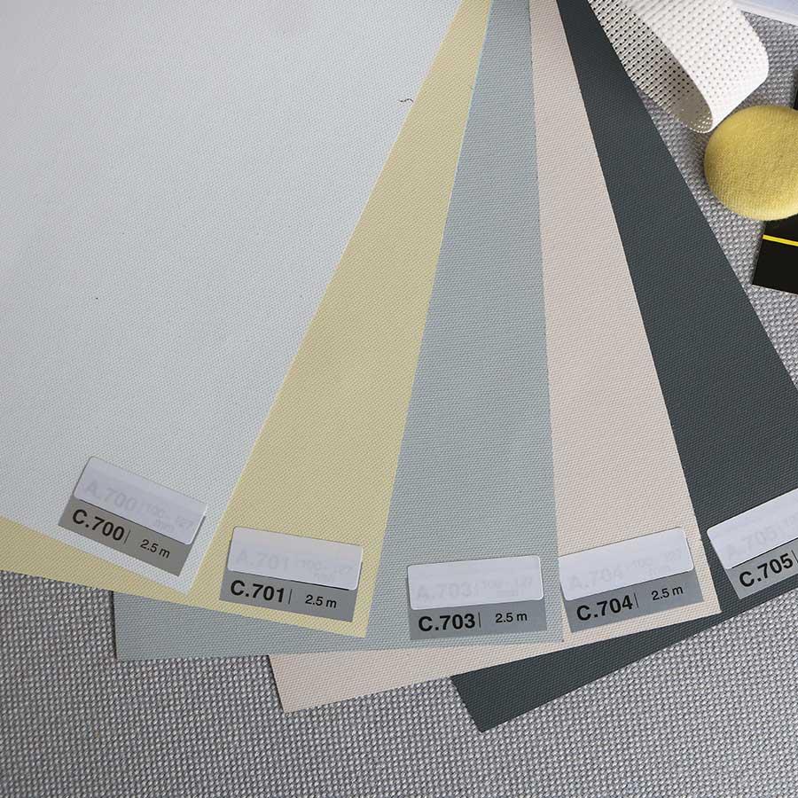 Rèm cuốn chống nắng Màn cuốn chống nắng trơn giá rẻ BUDGET Rèm văn phòng hcm Màu kem C701