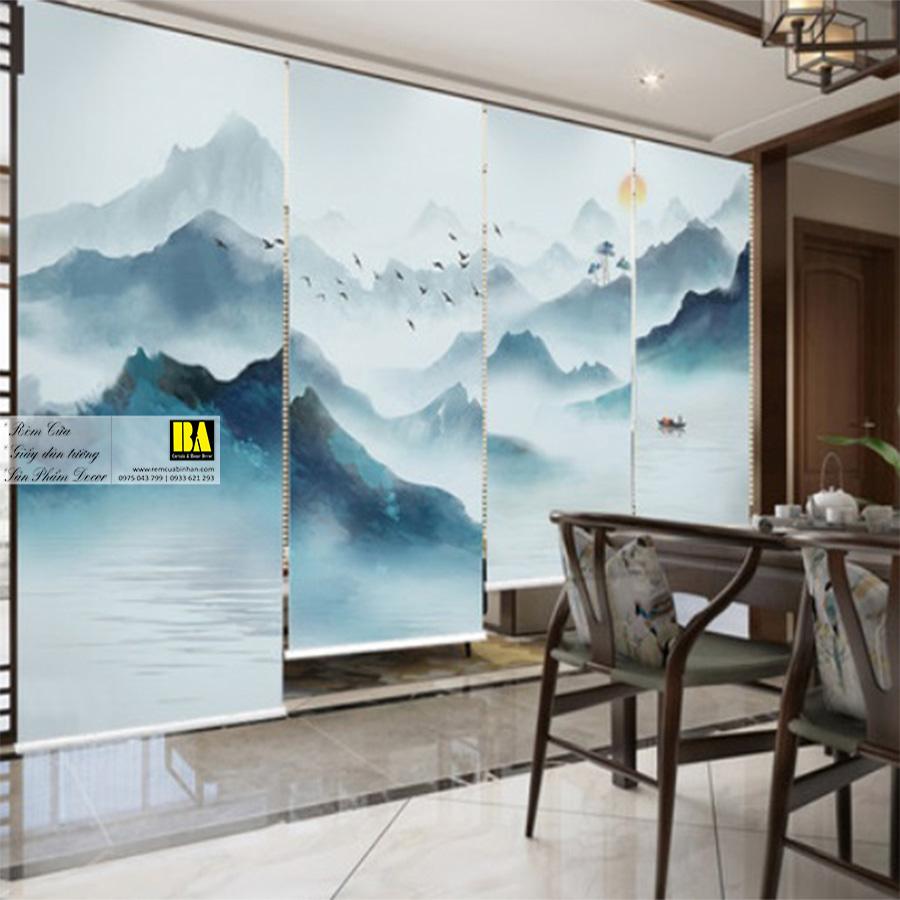Rèm cuốn in tranh 3D | Màn cửa sổ in hình tranh sơn thủy Rèm cuốn in tranh Bình An