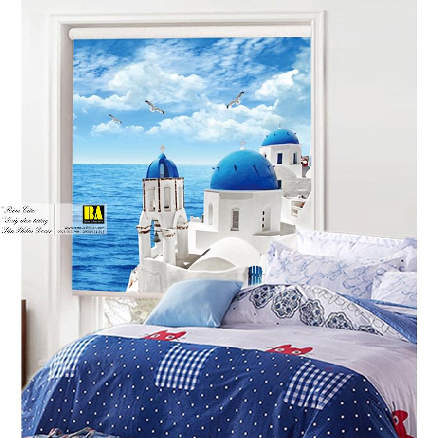 Rèm cuốn in tranh phong cảnh Địa Trung Hải | Màn cuốn in tranh TP HCM