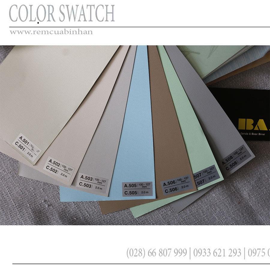 Rèm cuốn văn phòng Màn cuốn trơn vải nỉ chống nắng 100% màu xám RC508