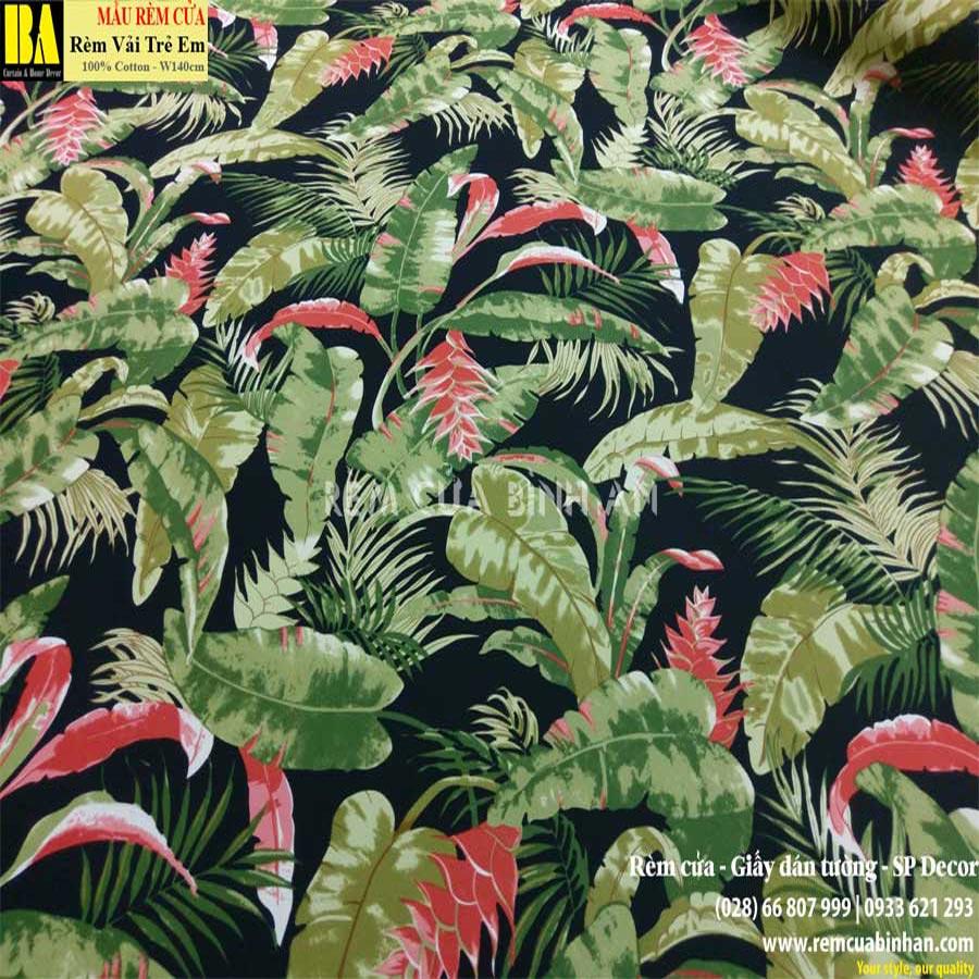 Rèm roman xếp lớp cửa sổ Họa tiết lá rùa Tropical BAROPRINT06