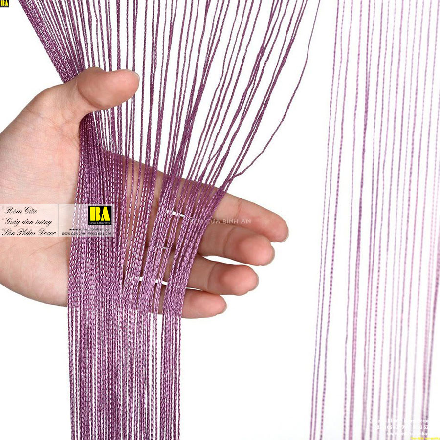 Rèm Sợi Kim Tuyến Màn Sợi Trang Trí Cao Cấp 3m x 3m Rèm Cửa Đẹp Màu Tím