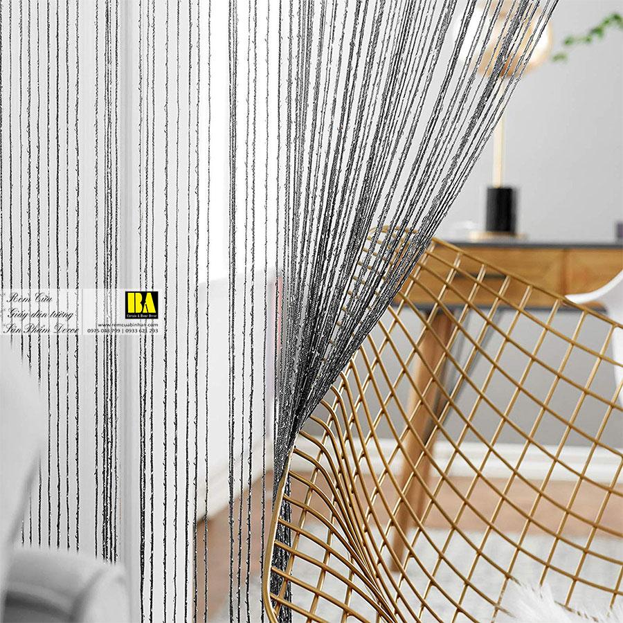 Rèm Sợi Kim Tuyến Màn Sợi Trang Trí Cao Cấp 3m x 3m Rèm Cửa Đẹp Màu Xám