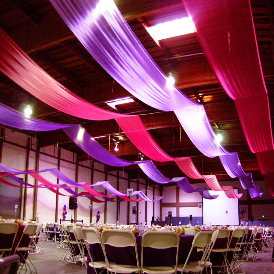 Rèm thả trần vải nhung cao cấp | Màn cửa thả trần trang trí tiệc cưới, hội nghị, nhà hàng TR04