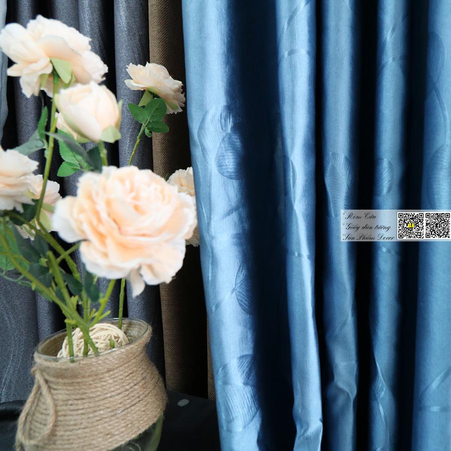 Rèm vải chống nắng hoa văn chìm | Màn cửa vải gấm satin Rèm phòng ngủ đẹp