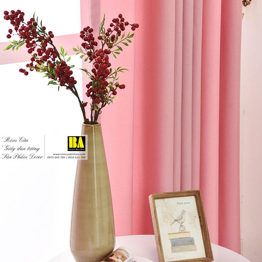 Rèm vải màu hồng tươi | Màn cửa trơn một màu hiện đại
