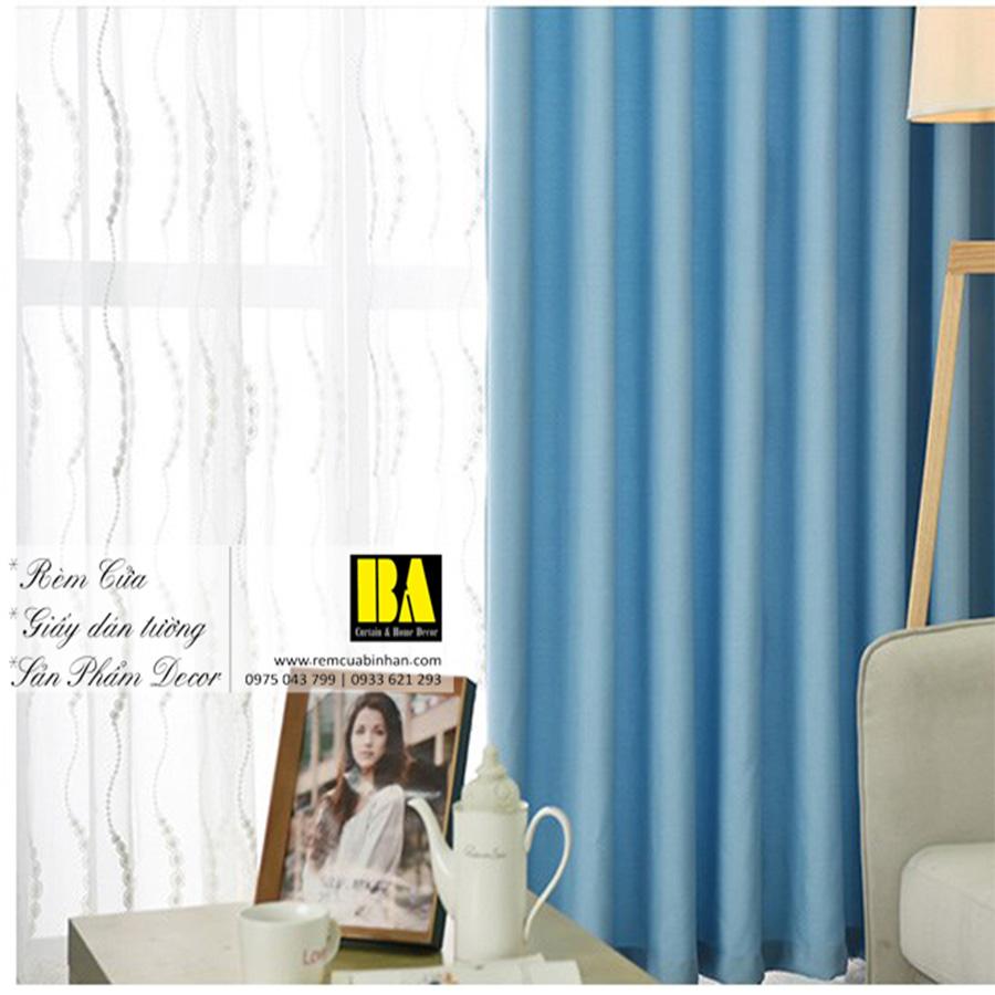 Rèm vải màu xanh biển | Màn cửa trơn một màu hiện đại