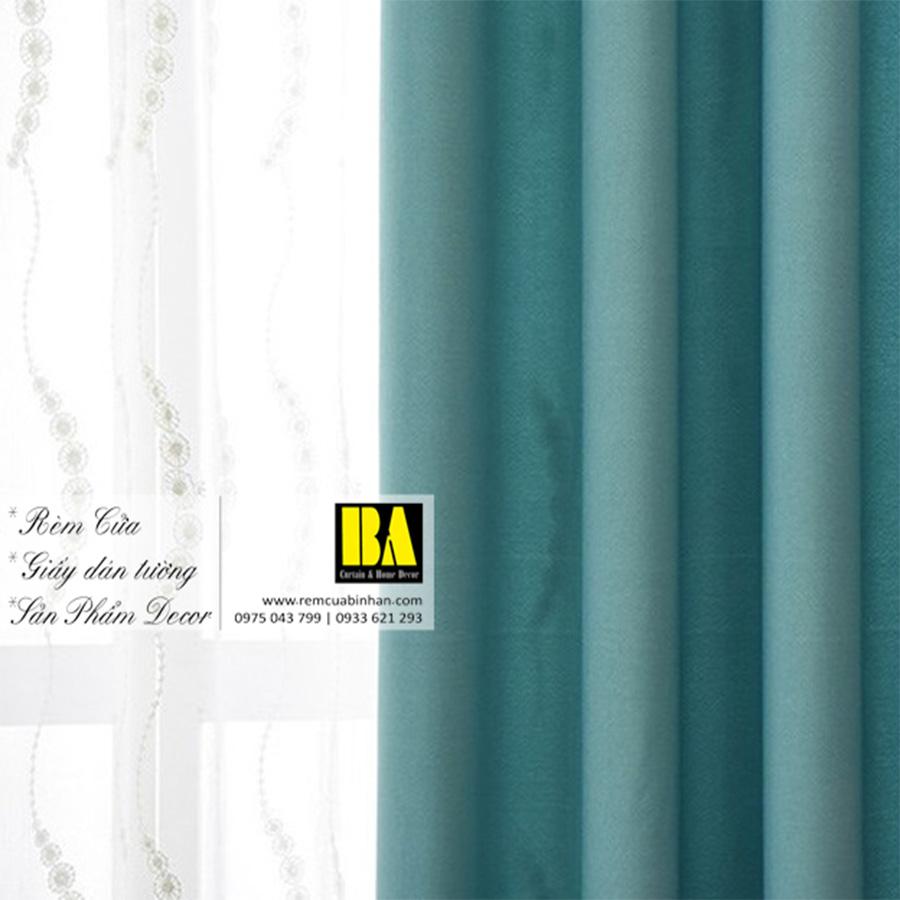 Rèm vải màu xanh ngọc | Màn cửa trơn một màu hiện đại