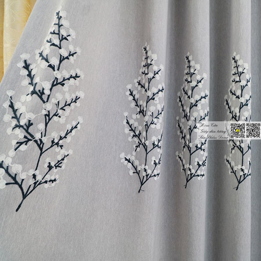 Rèm vải thêu hoa văn chìm | Màn cửa hoa văn cao cấp Rèm cửa phòng ngủ đẹp