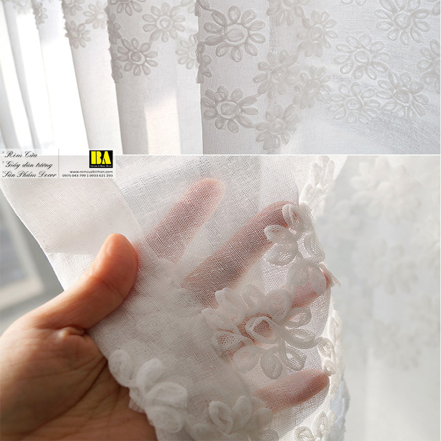 Rèm voan Hàn Quốc họa tiết hoa nổi 3D Màn cửa Hàn Quốc Rèm nhập khẩu cao cấp cho biệt thự, khách sạn