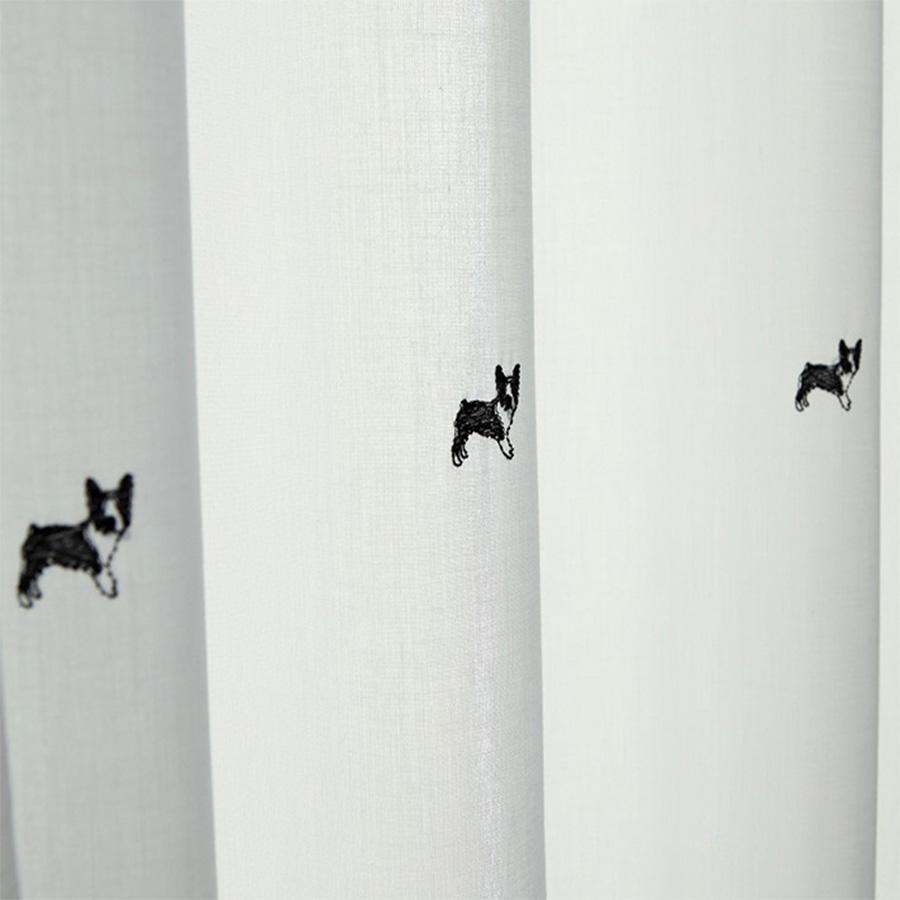 Rèm voan Hàn Quốc thêu họa tiết chó nhỏ phong cách Nordic | Màn cửa cao cấp Hàn Quốc