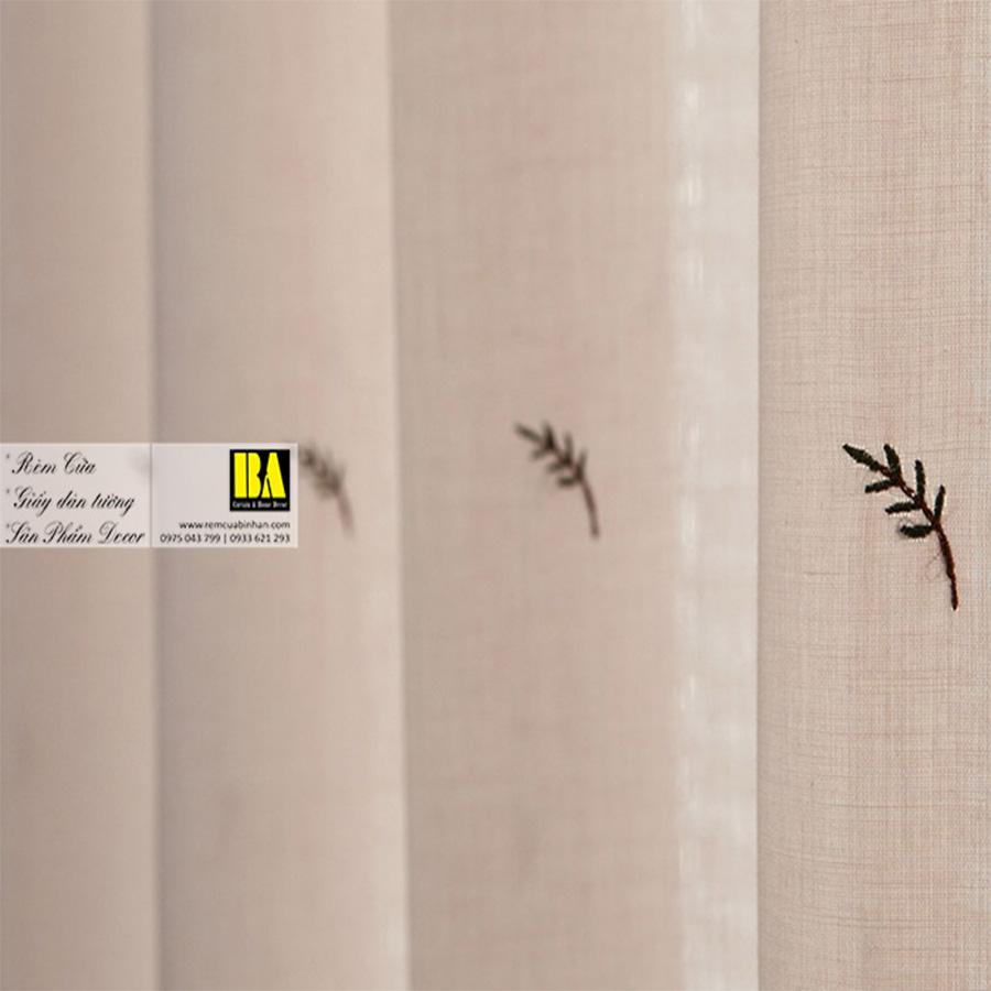 Rèm voan Hàn Quốc thêu họa tiết lá phong cách Nordic | Màn cửa cao cấp Hàn Quốc