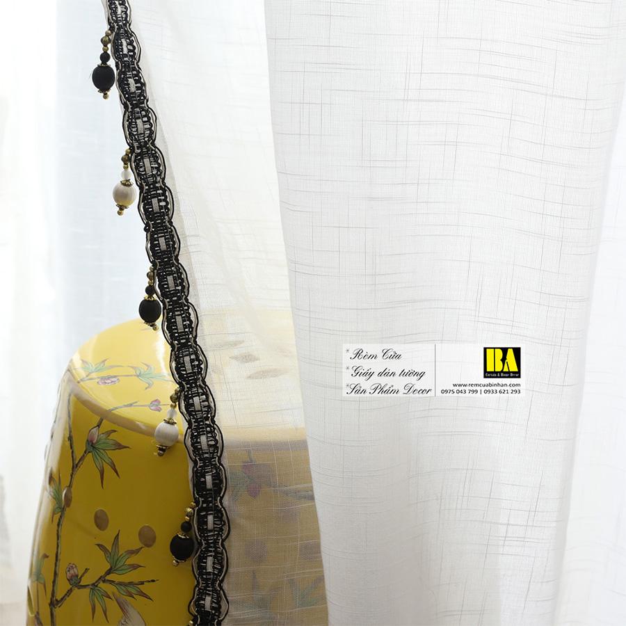 Rèm voan linen màu trắng   Màn voan trang trí mỏng nhẹ Rèm cửa phòng khách