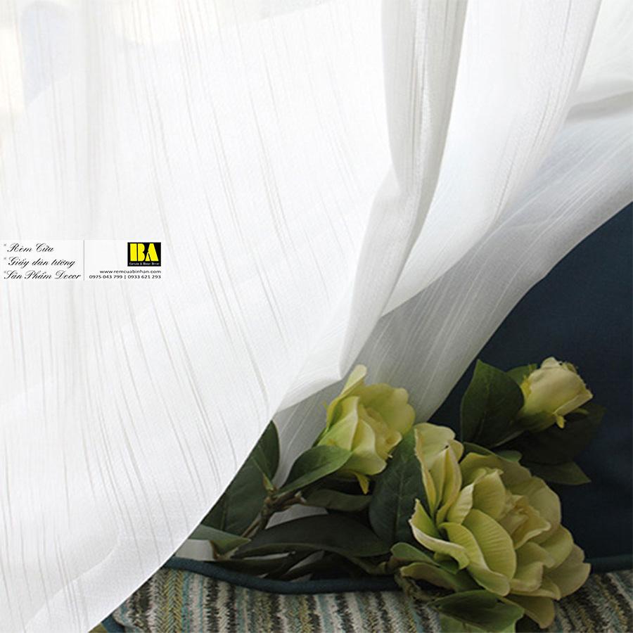 Rèm voan màu trắng gân vải sọc nhuyễn nhẹ   Màn voan mỏng trang trí