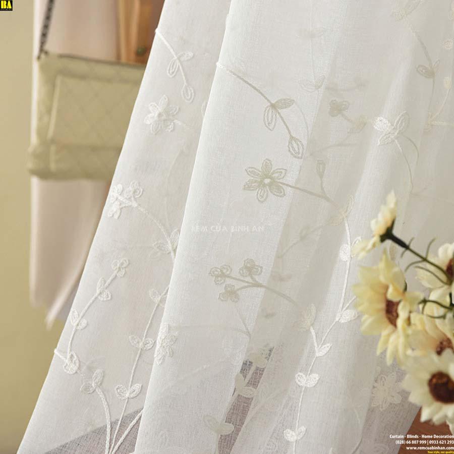 Rèm voan thêu cao cấp Màn voan họa tiết lá Rèm mỏng lót trang trí BAHN