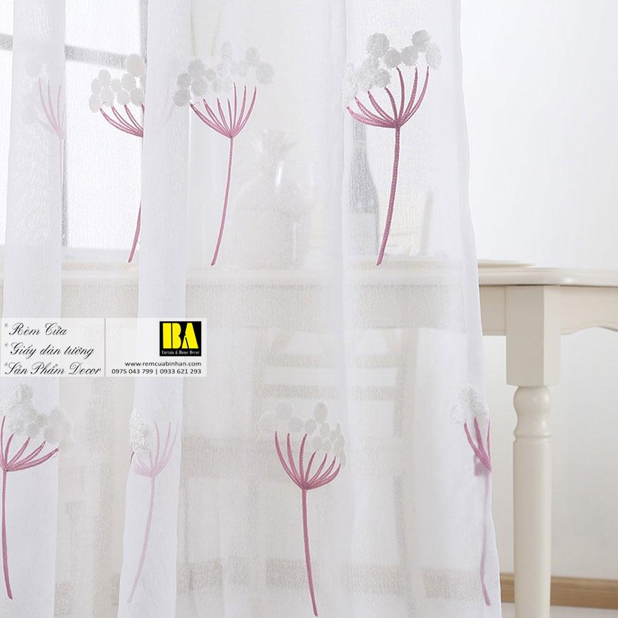 Rèm Voan Thêu Họa Tiết Hoa Bồ Công Anh Màn Voan Trang Trí Đẹp VOT02