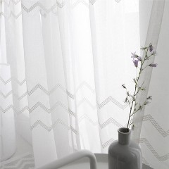 Rèm voan Hàn Quốc họa tiết Zigzag Màn cửa phong cách Nordic | Rèm cửa Bình An