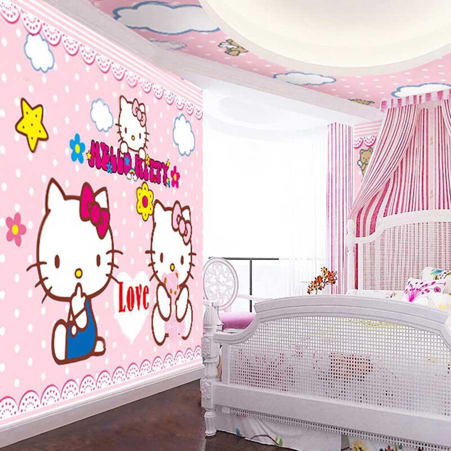Tranh dán trần màu hồng phòng bé | Tranh dán trần họa tiết Hello Kitty