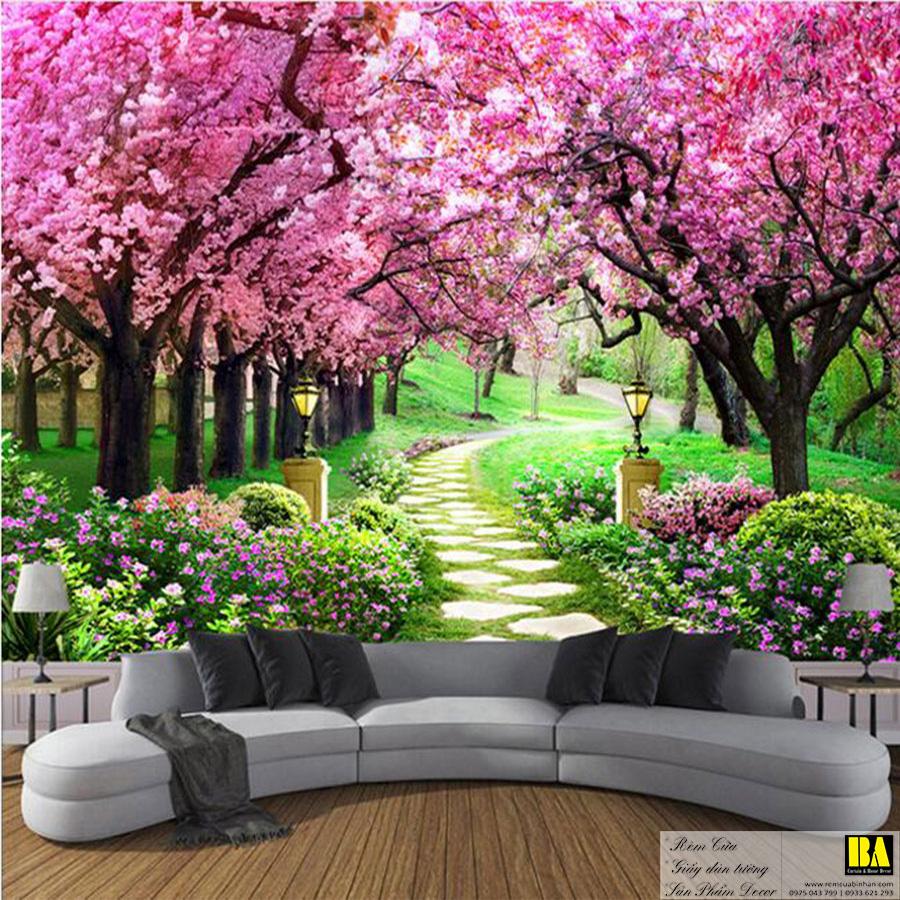 Tranh dán tường cánh đồng hoa   Tranh dán tường in mực dầu hình phong cảnh Bình An