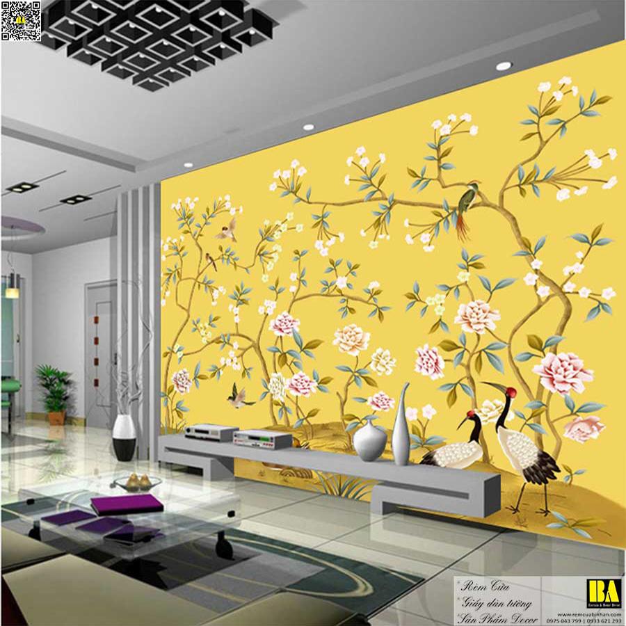Tranh dán tường Chim và hoa màu vàng | Tranh dán tường phòng khách cổ điển