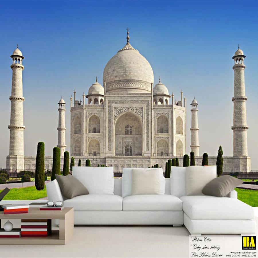 Tranh dán tường đền Taj Mahal Ấn Độ   Tranh dán tường in mực dầu hình phong cảnh Bình An