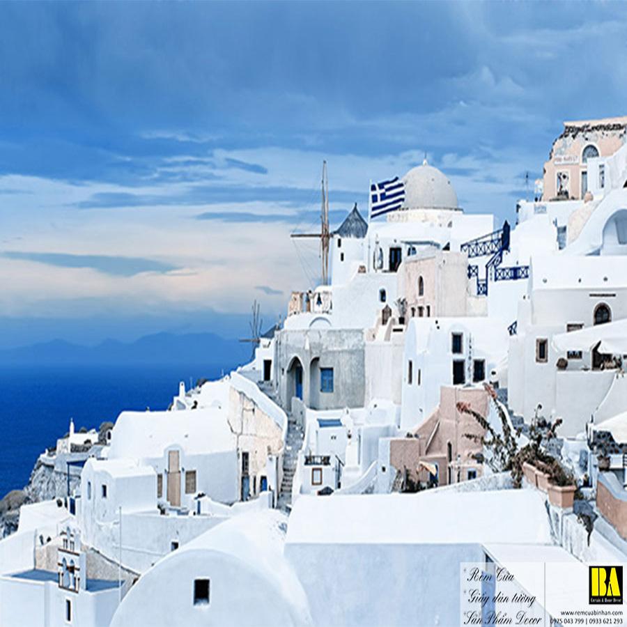 Tranh dán tường Địa Trung Hải   Tranh dán tường in mực dầu hình phong cảnh Bình An