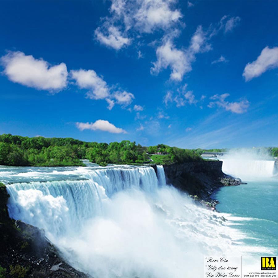 Tranh dán tường dòng suối   Tranh dán tường in mực dầu hình phong cảnh Bình An