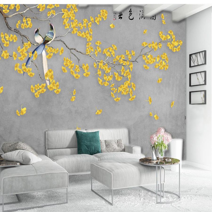 Tranh dán tường giả bê tông in hình chim và hoa vàng phú quý | Tranh dán tường đẹp