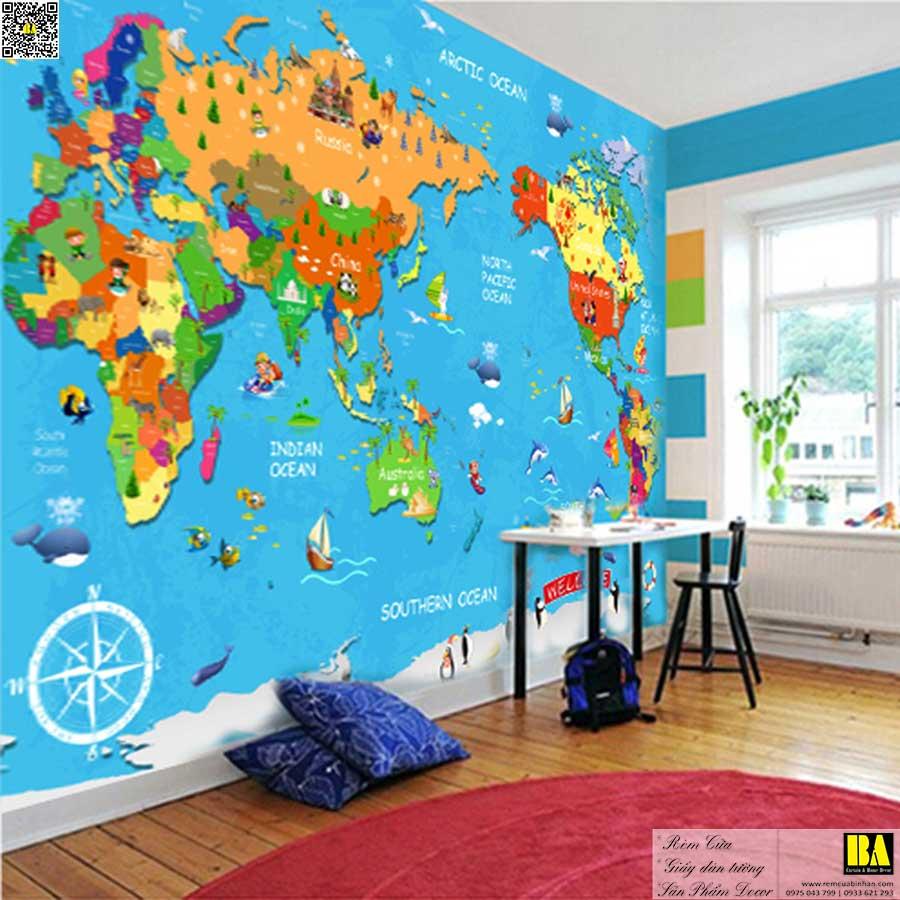 Tranh dán tường hình bản đồ | Tranh dán tường phòng trẻ em in UV cao cấp Bình An