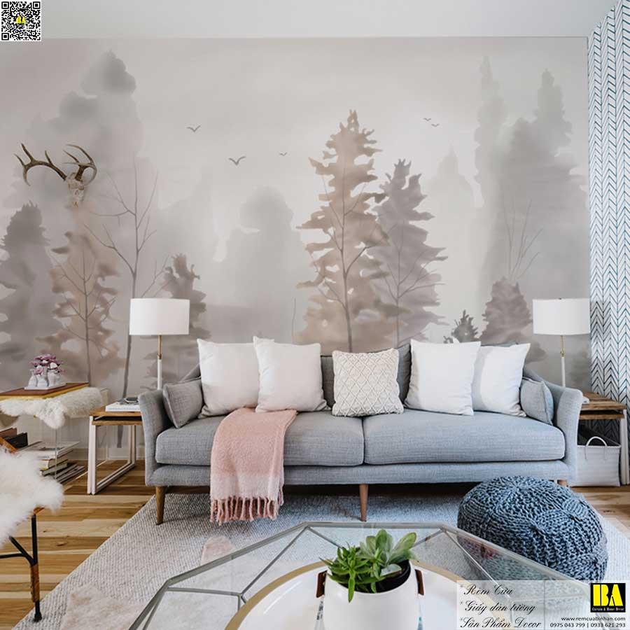 Tranh dán tường hình cây phong cách Botanica | Tranh dán tường phong cảnh hiện đại