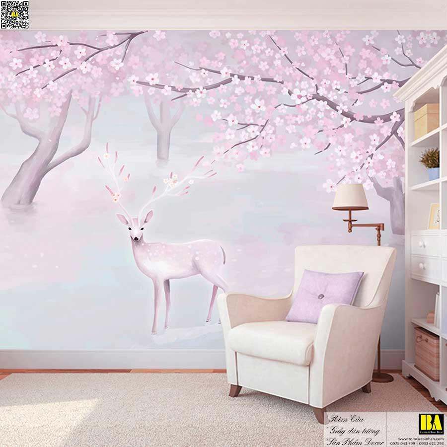 Tranh dán tường Hình nai đáng yêu | Tranh dán tường trẻ em in UV cao cấp Bình An