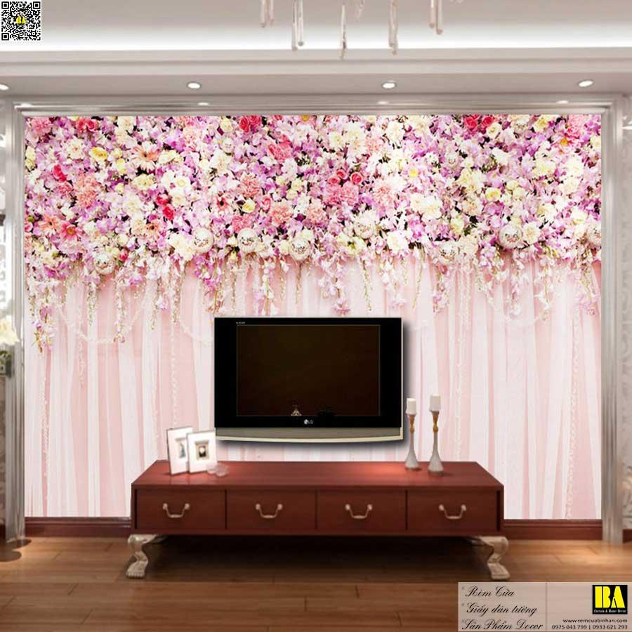 Tranh dán tường hoa và rèm | Tranh dán tường phòng ngủ đẹp Bình An