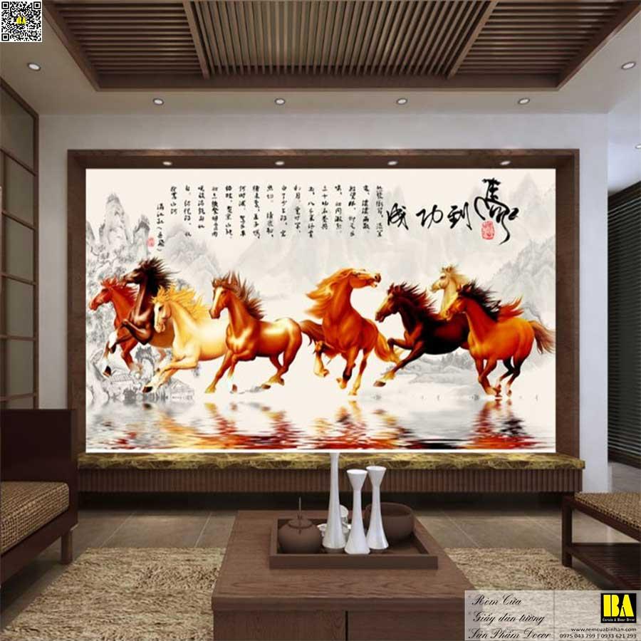 Tranh dán tường Mã đáo thành công | Tranh dán tường in UV cao cấp Bình An