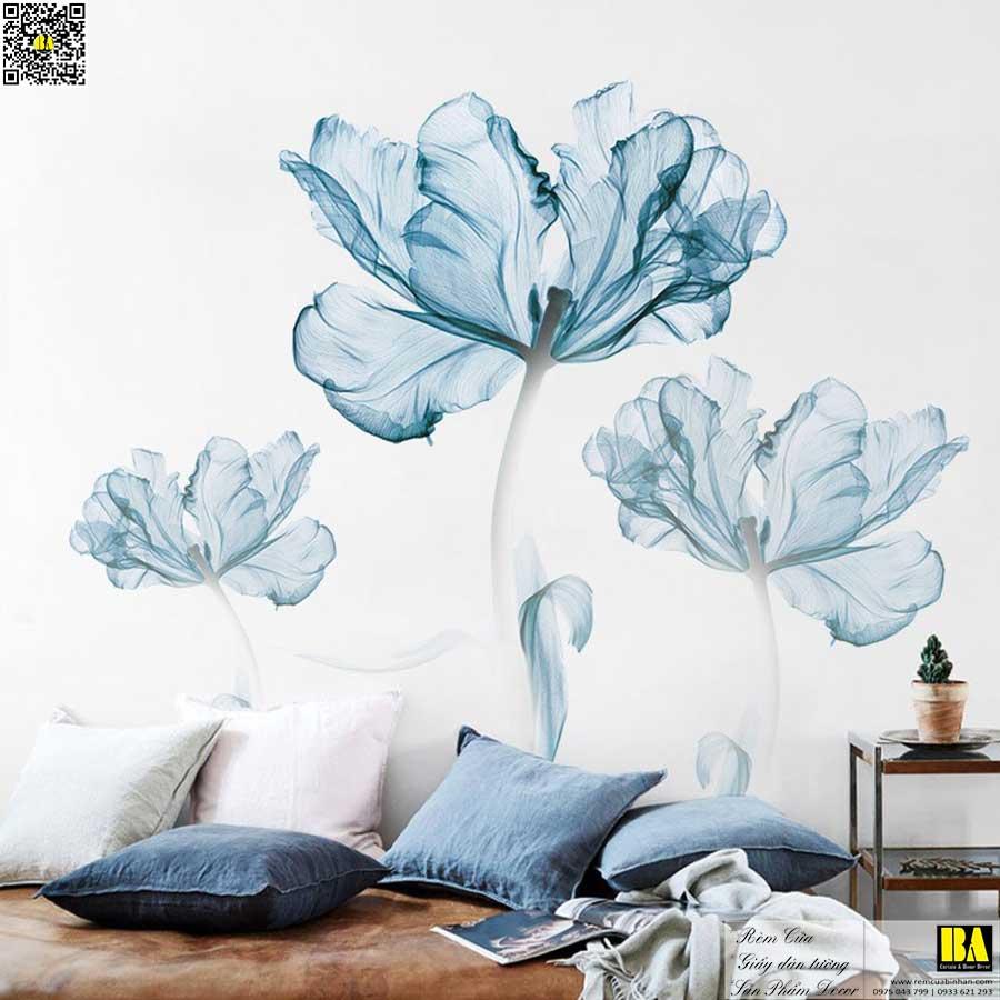 Tranh dán tường phòng ăn | Tranh dán tường hoa xanh in UV cao cấp Bình An