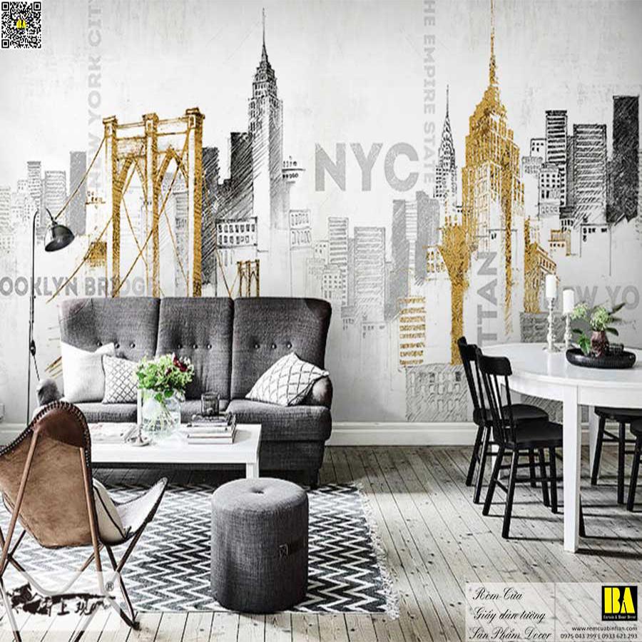 Tranh dán tường Phong cảnh Newyork | Tranh dán tường hiện đại in UV cao cấp Bình An