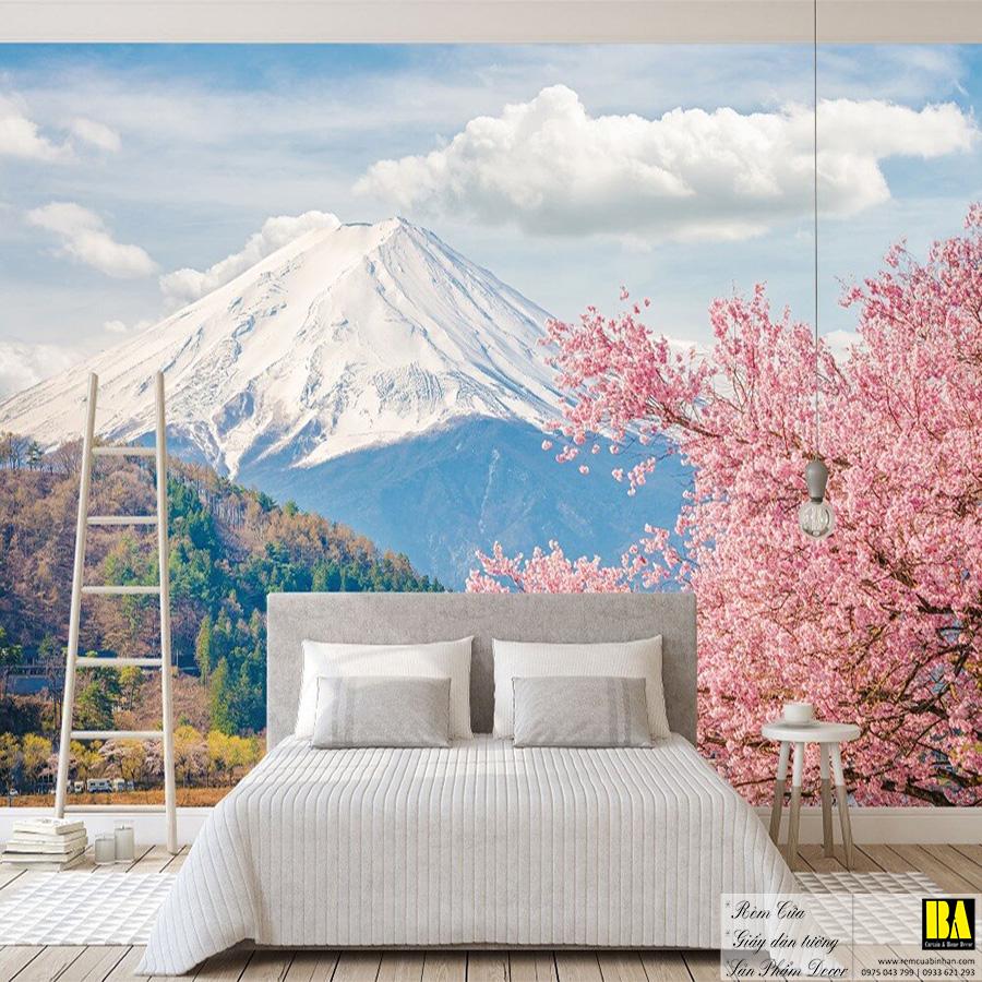 Tranh dán tường phong cảnh Nhật Bản   Tranh dán tường in mực dầu hình phong cảnh Bình An