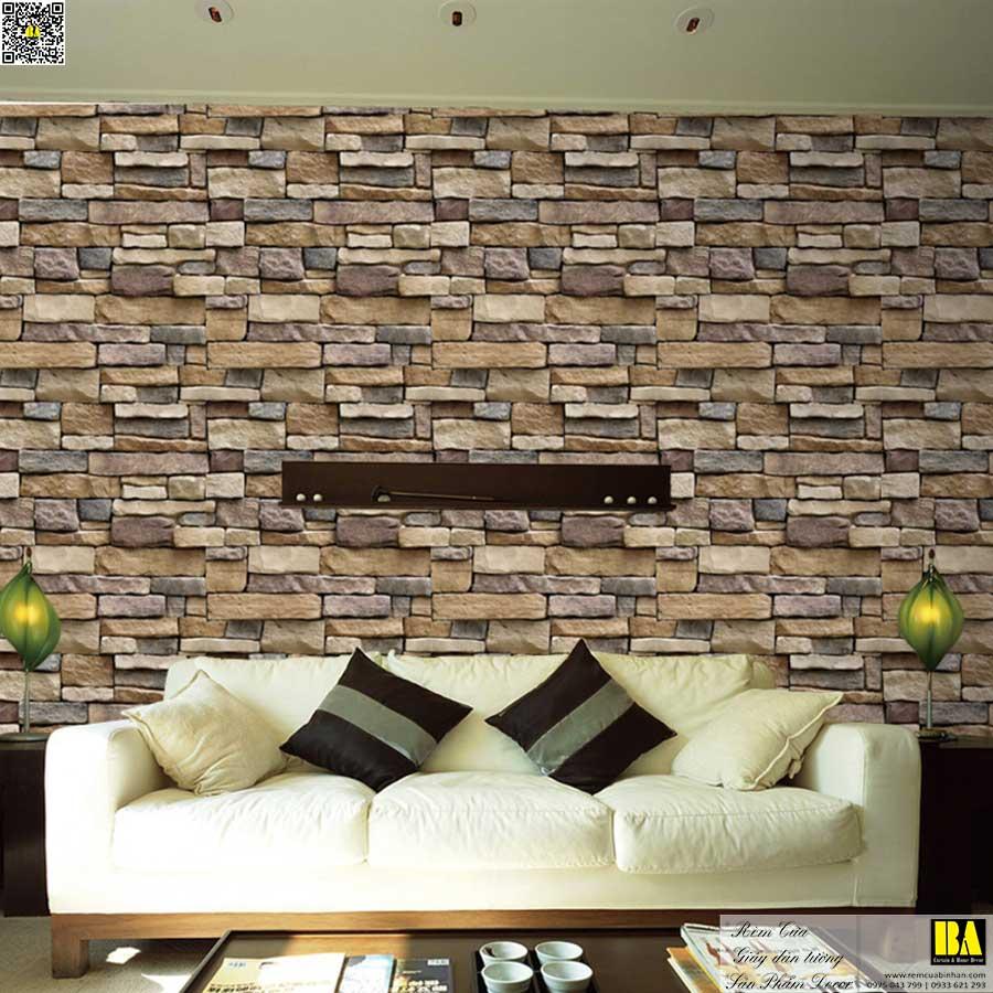 Tranh dán tường phòng khách vân đá | Tranh dán tường vách sofa tivi Tranh tường in UV cao cấp Bình An