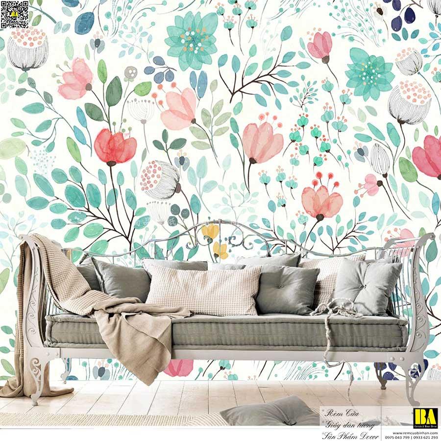 Tranh dán tường phòng ngủ đẹp | Tranh dán tường hoa lá phong cách Botanica