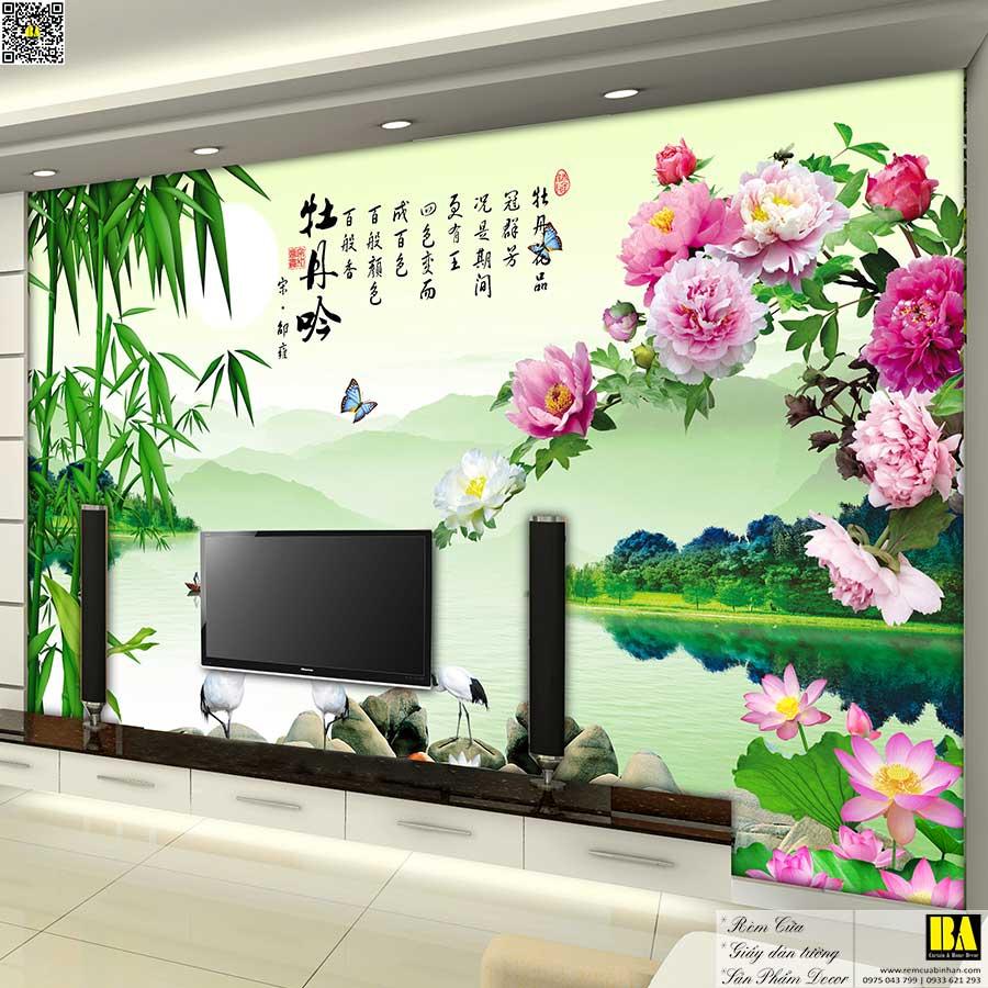 Tranh dán tường Tre sen | Tranh dán tường phong cách cổ điển in UV cao cấp