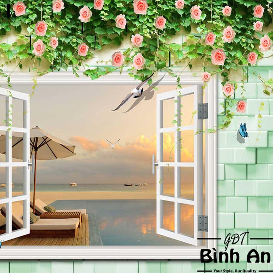 Tranh vải dán tường phong cảnh cửa sổ cảnh biển Y3501 Tranh vải 3d dán tường cao cấp