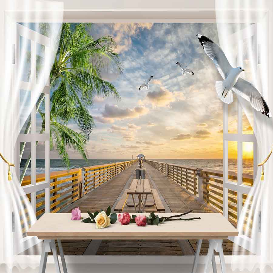 Tranh vải dán tường phong cảnh cửa sổ cảnh biển Y3502 Tranh vải 3d dán tường cao cấp