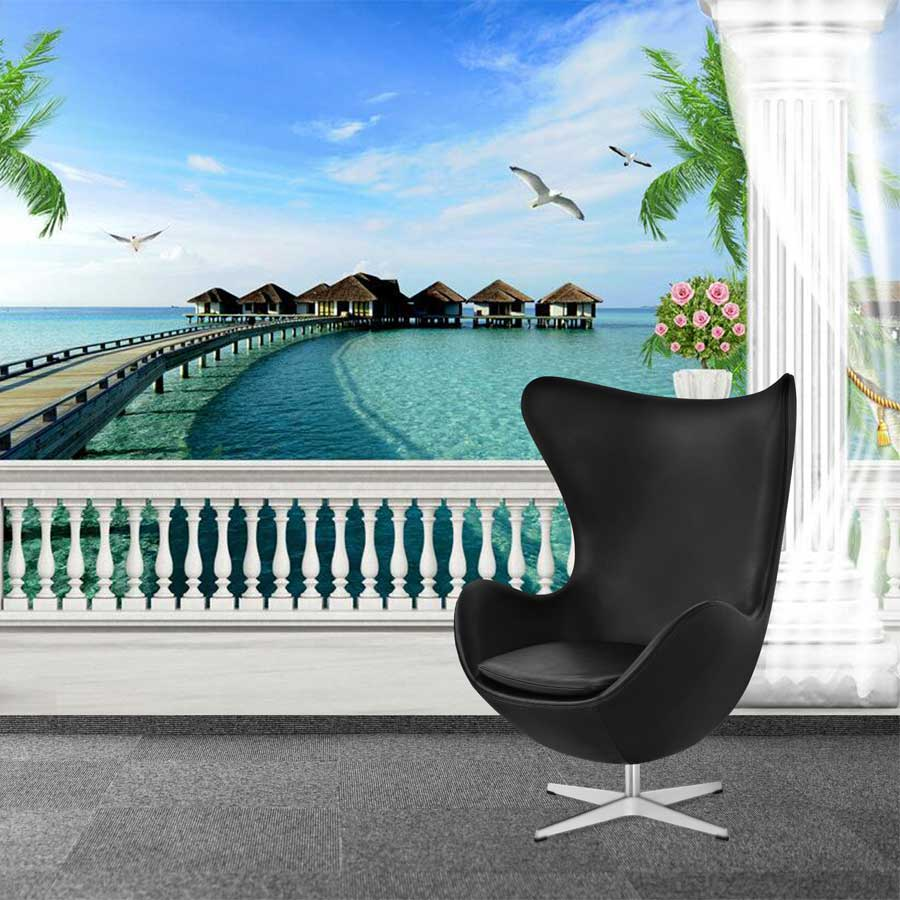 Tranh vải dán tường phong cảnh cửa sổ cảnh biển Y3503 Tranh vải 3d dán tường cao cấp