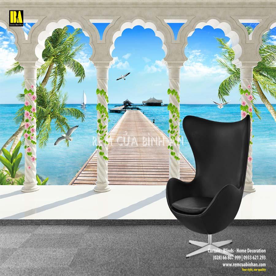 Tranh vải dán tường phong cảnh cửa sổ cảnh biển Y3505 Tranh vải 3d dán tường cao cấp
