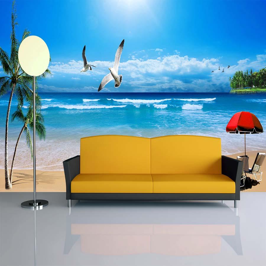 Tranh vải dán tường phong cảnh cửa sổ cảnh biển Y3526 Tranh vải 3d dán tường cao cấp